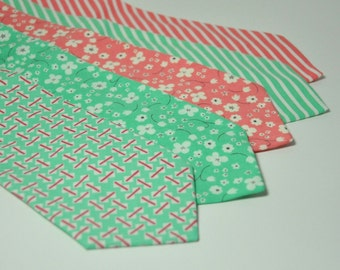 Wedding Neckties - Coral Pink and Mint Green Men's Necktie