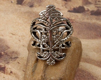 ERZULIE FREDA RING - Voodoo Vodou Loa Lwa Veve in 925 Sterling Silver - Made To Order in Your Size