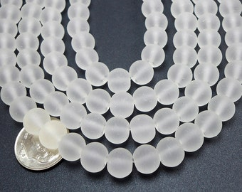 50 Clear Matte Sea Glass Beads 8mm frosted beach glass round (H1651)