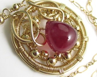 The Ruby Amulet - Smooth Natural Ruby and 14k Gold Fill Necklace