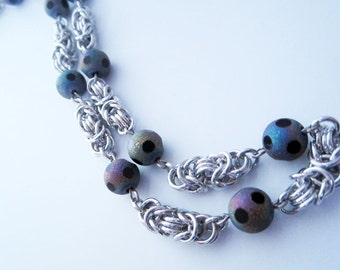Purple Glass Byzantine Chainmaille Necklace Handmade