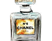 Poster print of vintage perfume bottle Chanel No 5 painting by Marley Ungaro