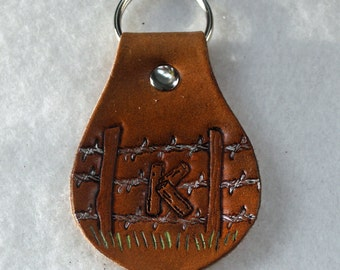 Leather Key Fob - Barbed Wire Fence - K L M N O - Monogram - Initial