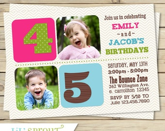 Joint Twin Photo Birthday Invitation- Boy, Girl, or Boy-Girl Format