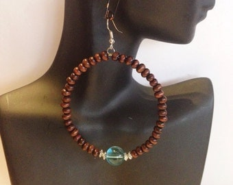 Beaded Hoop  Earrings with a matching Bracelet