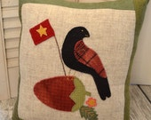 Bird on a Strawberry Primitive Wool Pillow Cushion SALE wool cushion pillow primitive shelf sitter primitive tuck needful thing