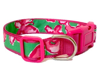 Dog Collar Made from Lilly Pulitzer All a Flutter Fabric on Hot Pink Size: Your Choice