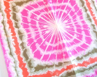 Psychedelic Spider Web - a rare, Woodstock-era, 1960's, hand-painted, spin art, Pure Silk Scarf - 28 inches