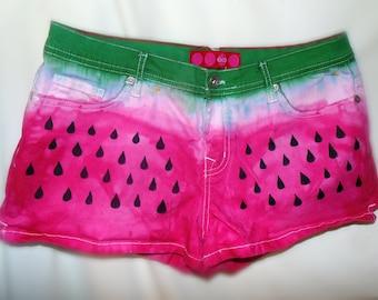 Watermelon Ombre dip dyed denim jean shorts