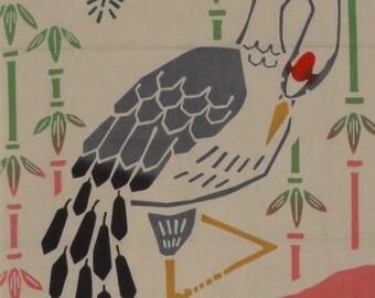 Tenugui Japanese Fabric 'Turtle and Crane' Motif w/Free Shipping
