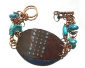 Chocolate Brown Enamel and Turquoise Bracelet Kiln Enameled Raw Turquoise One-of-a-Kind Handmade