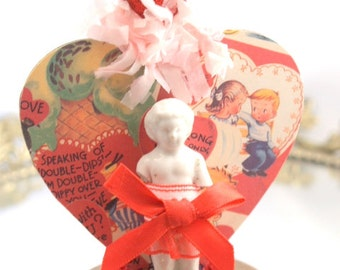 He Loves Me... Valentine Heart Decoration Frozen Charlotte Retro Valentine Mixed Media Assemblage