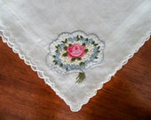 Vintage Handkerchief with Hand Embroidered Floral Bouquet