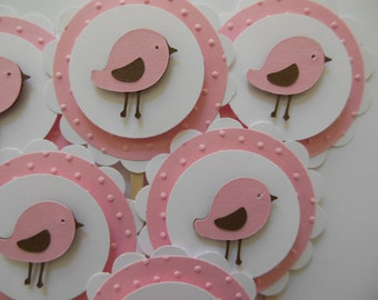 Bird Cupcake Toppers - Pink, Brown and White - Girl Birthday Decorations - Girl Baby Shower Decorations - Set of 6