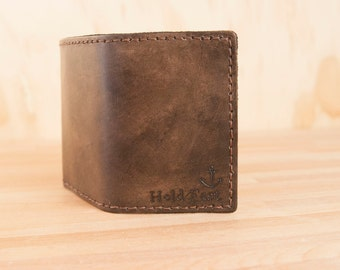 Hold Fast Trifold Wallet - Leather in antique black - anchor
