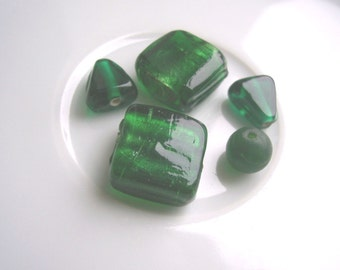 SALE Bottle Green Glass Beads mix - 5 pieces