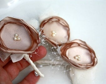 2 Champagne boutonnieres, Fabric flower boutonnieres custom made in any color, grooms boutonniere