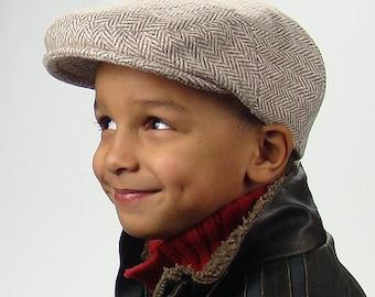 Wool Herringbone Tweed Jeff Cap in Tan, Brown, Grey for Boys, Baby, Infant, Toddler Newsboy Ivy Driving Golf Cap