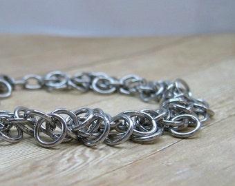 Chainmail Bracelet, Shiny Aluminum Bracelet, Chainmaille Jewelry, Aluminum Jewelry, Shaggy Loops Bracelet,  Aluminum Chainmaille Bracelet
