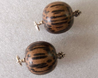 Handcrafted Vintage Philippines Palmwood Beads and Sterling Silver Dangles Charms Drops Jewelry Components - 2