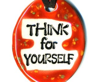 Think For Yourself Ceramic Necklace in Speckled Red