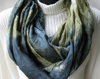 Hand dyed silk scarf for Men and Women Teal Blue and Olive Green Cowl Infinity Circle Scarf Fall  Fashion Scarf Unique Handmade Scarf