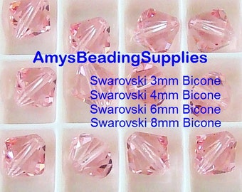 Swarovski Crystal Bicone LIGHT ROSE Crystals 5328, Size 3mm 4mm 6mm