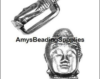 BUDDHA Flat Leather slider Slider, Antique Silver (1)