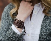 Leather Wrap Bracelet with EcoFriendly Recycled Sterling Silver Accent - brown leather - hip - trendy - layering stacking bracelet B1055