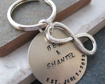 Infinity Keychain, Personalized, Anniversary, Valentine, Wedding gift, all couples welcome, gifts under 20