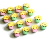 Cupcake Muffin Buttons, Pink, Green, 16 Pieces