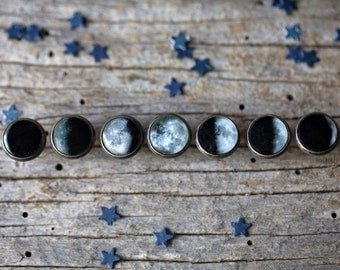 Moon Phase Stud Earring Set of 7 - Lunar Phase Jewelry - Galaxy, Moonphase, Science, Cosmos, Space Jewellery - Bridal Party, Space Wedding