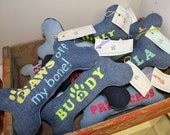 Custom Upcycled Denim Large Personalized Plush Squeaker Dog Bone