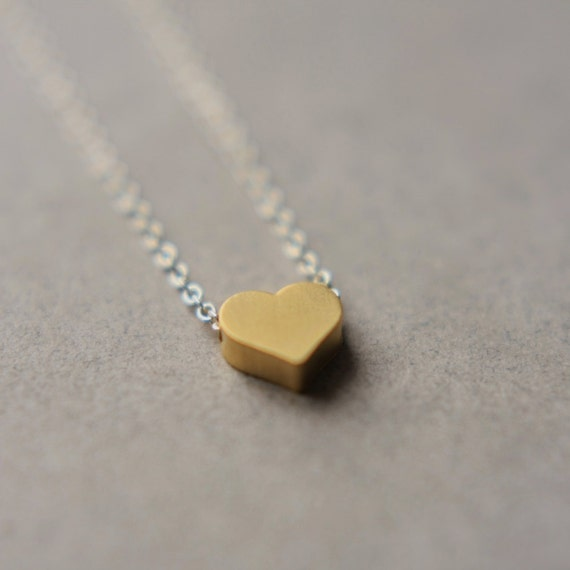 Brass Heart Necklace, Brass Charm Necklace, Minimal Brass Jewelry, Romantic Mixed Metal Jewelry
