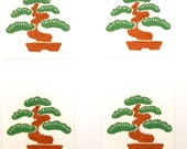 Japanese Stickers Bonsai Pine Tree Washi Paper (S105) Traditional Design Stickers