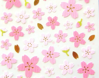 Cherry Blossom Stickers - Japanese Stickers -  Chiyogami Stickers - Flower Stickers - Pink Stickers  S12