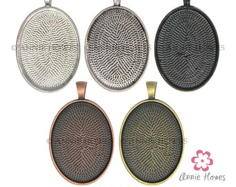 30mm x 40mm Oval Pendant Trays to use with Annie Howes 30x40 Glamour FX Glass Cabochons. Silver, Gold, Copper, and Black Options. 25 Pack