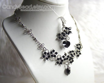 Swarovski Necklace and Earrings, Black Flower Swarovski Crystal Silver Necklace and Matching Earrings by CandyBead