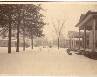 Neighborhood Street Scene in Winter, Victorian Houses, Snow, and Bare Trees 1920s