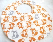 Baby Boy Bib or Baby Girl or Toddler Bib - Sweet  Fox - red/orange and gray foxes -  neutral cotton bib with terry cloth backing