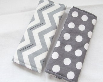 Reversible Car Seat Strap Covers - Modern Essentials - Gray and White Chevron and Dot
