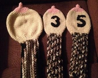 Crocheted Boobie Golf Club Socks - Mature - Made to Order