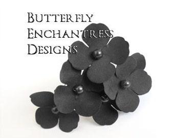 Gray Hair Flowers, Rustic Wedding, Bridal Hair Accessories - 6 Charcoal Grey Adora Hydrangea Hair Pins