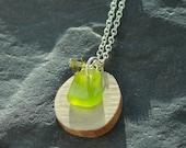 Lime Sea Glass Jewelry - sea glass necklace - Antler jewelry - Beach jewelry - genuine sea glass