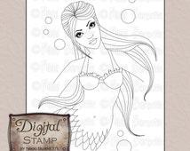 Digital Stamp - Printable Coloring Page - Fantasy Art - Mermaid Stamp - Jolene - by Nikki Burnette - COMMERCIAL USE