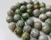 8mm Faceted Green Dragon Vein Agate Beads - 3 Half Strands