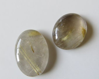 Golden Rutilated Quartz - Pair of Oval Cabochons, 48.45 cts (GR356)
