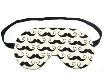 Moustache on Cream Sleep Eye Mask
