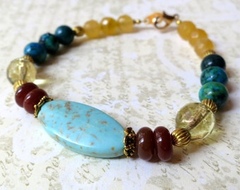 Bracelet turquoise howlite and yellow stone. HALF PRICE SALE. Take 50% off.