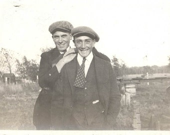 Vintage photo 1915 Young Men best friends brothers on the farm